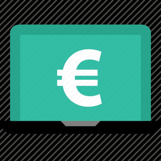 euro, laptop, online, shop, shopping, sign icon