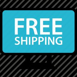 computer, free, monitor, shipping icon
