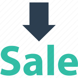 arrow, down, sale icon