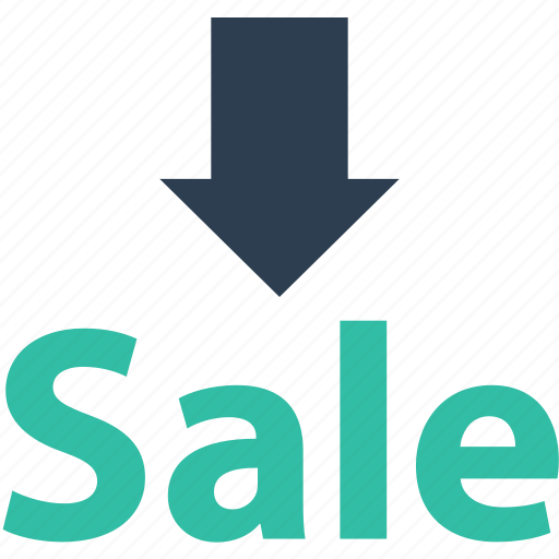 arrow, down, sale icon