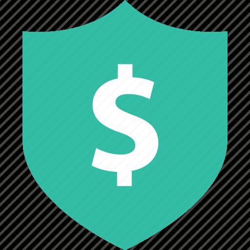 dollar, online, shield icon