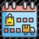 calendar, date, interface, length, organization, schedule, shopping