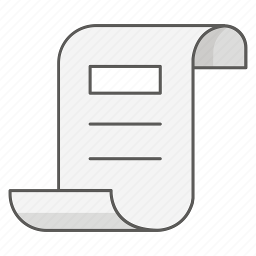 bill, document, legal, list, purchase, scroll, shopping icon