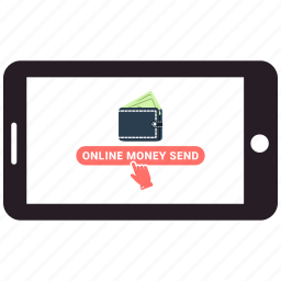 business, cell, dollar, mobile, money, online, online money send icon