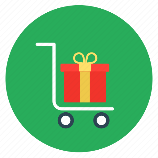 cart, flat design, gift, package, shopping, trolley icon