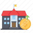 bank, building, cash, money, municipal, payment, savings icon