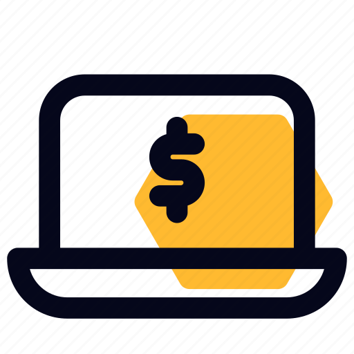 banking, laptop, money, online, payment icon