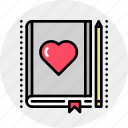 book, favorite, lesson, love icon