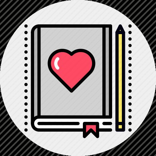 book, favorite, lesson, love icon