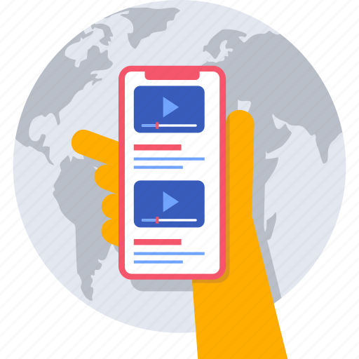 global, hand, mobile, online, videos, view icon
