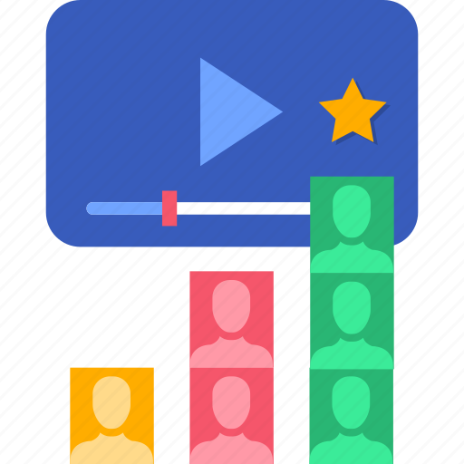 online, people, rank, ranking, video, watch icon