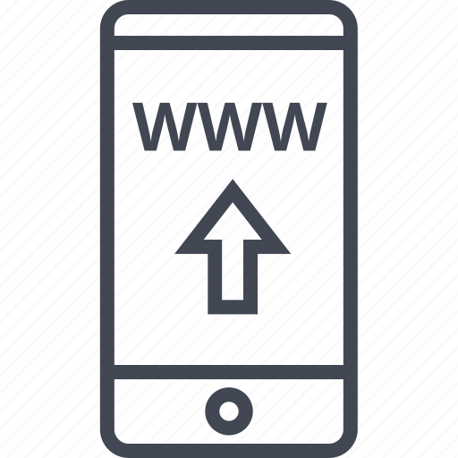 arrow, cell, mobile, up, www icon