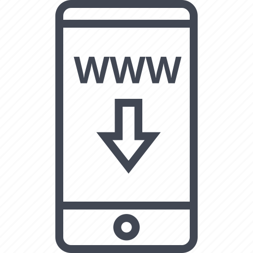 arrow, cell, down, mobile, phone, www icon