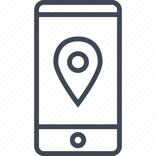 cell, gps, location, phone, ping icon