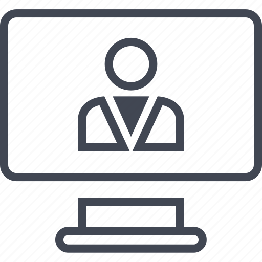 computer, friend, online, person, screen, user, web icon