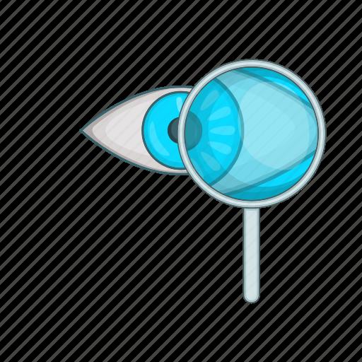 cartoon, design, exam, eye, glass, magnifying, test icon