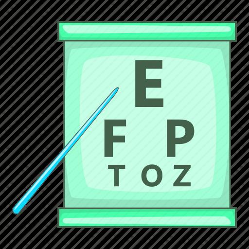 cartoon, chart, design, eye, eyesight, optical, test icon