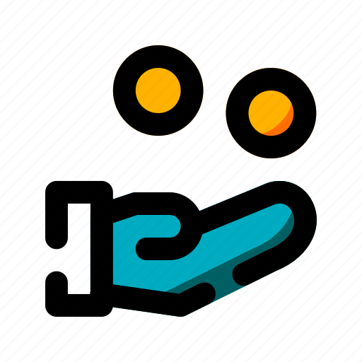 Coin, finance, hand, income, money icon - Download on Iconfinder
