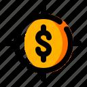 crosshair, dollar, finance, money, target