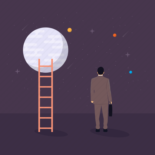 fantasy, moon with ladder, reaching goal, reaching top, success path icon