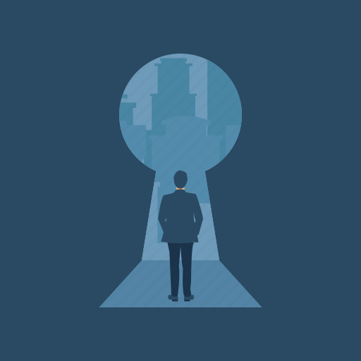 big idea concept, big key, business solutions concept, key business person, man with keyhole icon