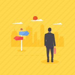 business opportunities, businessman, career path, employee, employment decision icon