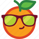 cool, cute, emoji, emoticon, funny, glasses, orange icon