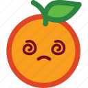 confused, cute, emoji, emoticon, funny, orange icon
