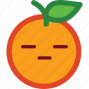 cute, emoji, emoticon, flat face, funny, orange icon