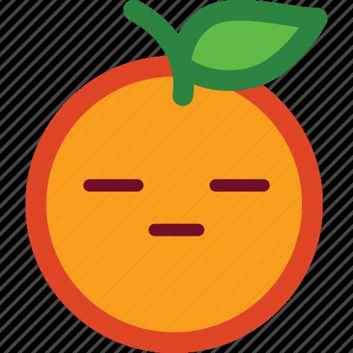 cute, emoji, emoticon, flat face, funny, orange icon