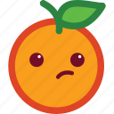 cute, emoji, emoticon, funny, orange, suspicious icon