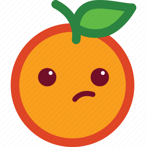 cute, emoji, emoticon, funny, orange, suspicious icon
