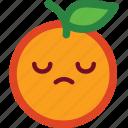 cute, emoji, emoticon, funny, orange, sad icon