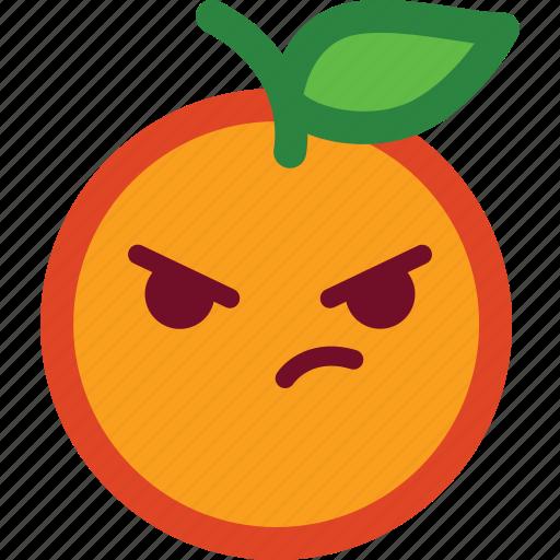 angry, cute, emoji, emoticon, funny, madness, orange icon