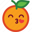 cute, emoji, emoticon, funny, heart, love, orange icon