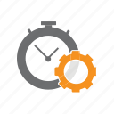 clock, cog, it, seo, time icon