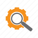 cog, glass, magnifying, searching, seo