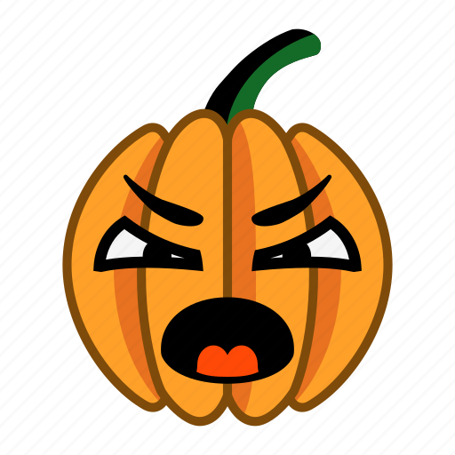 angry, cartoon, character, halloween, pumpkin, shout, vegetable icon