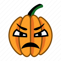 angry, cartoon, character, dissatisfied, halloween, pumpkin, sad icon