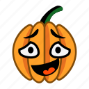 character, confused, halloween, laugh, mouth, open, pumpkin