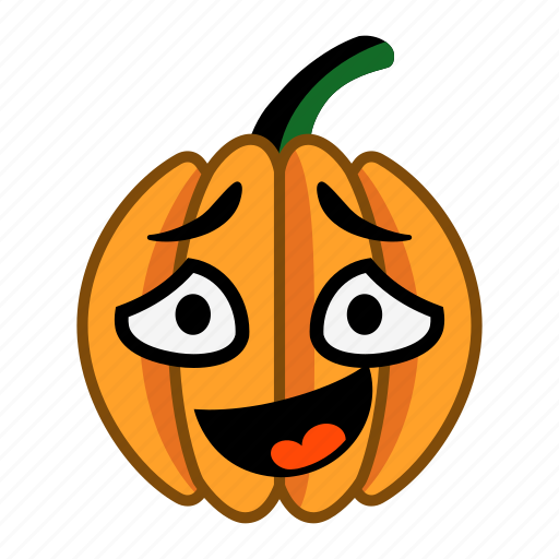character, confused, halloween, laugh, mouth, open, pumpkin icon