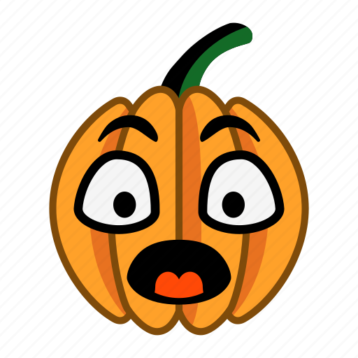 cartoon, character, halloween, open eyes, pumpkin, shocked, surprized icon