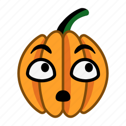 halloween, look up, pumpkin, puzzled, recall, surprised, think icon