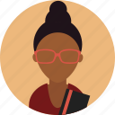 avatar, female, girl, glasses, profile, student, woman icon