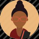 avatar, female, girl, glasses, profile, student, woman