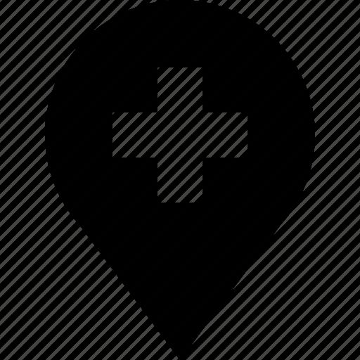 add, direction, location, marker, pin, plus icon