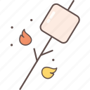 camping, cooking, food, marshmallow, outdoor icon