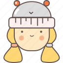 avatar, camping, face, female, girl, hat, woman icon