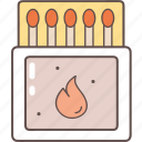 burn, camping, fire, flame, matches, tourism, travel icon