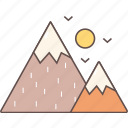 camping, mountains, outdoor, sun, tourism, travel icon